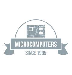 microcomputers logo simple gray style vector image vector image
