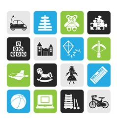 Silhouette different kind of toys icons vector image vector image