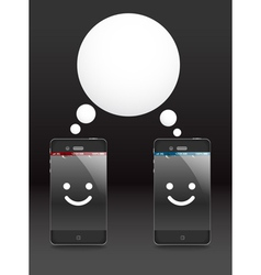 Smiling modern phones vector image