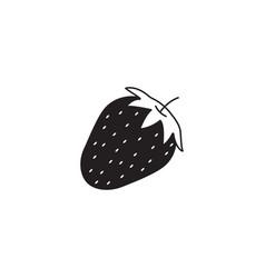 Strawberry solid icon healthy fruit vector