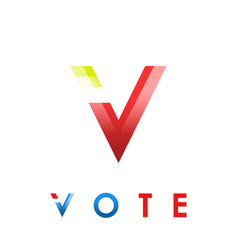 v letter icon voting concept vector image
