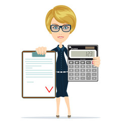 woman holding an electronic calculator and vector image vector image