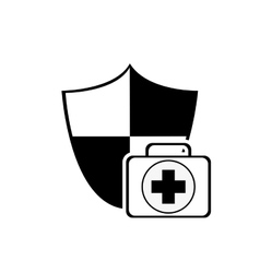 Shield and first aid kit icon vector