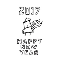 Happy new year poster funny sketch of cartoon vector