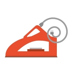 Red steam iron household vector