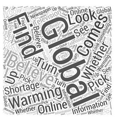 Global Warming Do You Believe Word Cloud Concept vector image