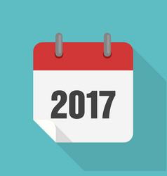 calendar 2017 icon flat design vector image
