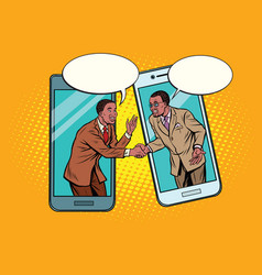 Online the talks of the two businessmen vector