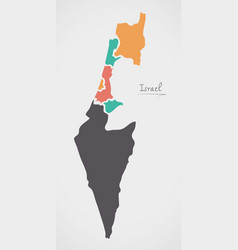israel map with states and modern round shapes vector image