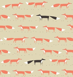 red and black fox seamless pattern vector image