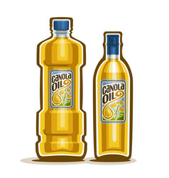 2 yellow bottles with canola oil vector