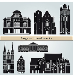 Angers landmarks and monuments vector