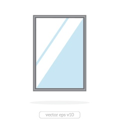 Silver mirror with reflection at the wall vector