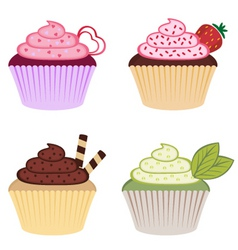 sweet colorful cupcakes vector image