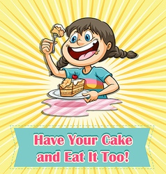Girl eating a cake vector image