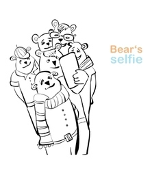 Bear selfie many bears do self photo vector