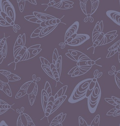 Night creatures seamless pattern with moths vector