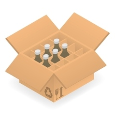 Open cardboard box with bottles inside vector