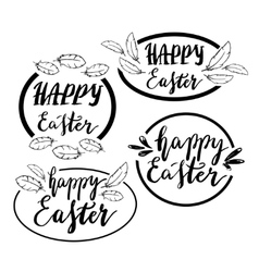 Hand written happy easter phrases greeting card vector