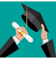Graduation hat and diploma in hands of student vector