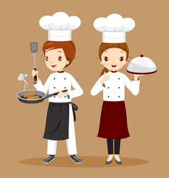 Professional chefs with foods in hands vector