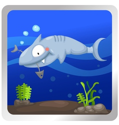 A shark underwater background vect vector