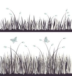 Background grass with butterflies vector image