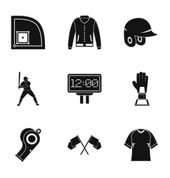 Baseball goods icons set simple style vector
