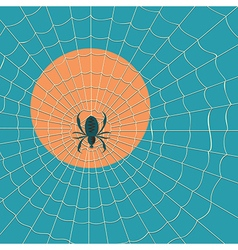 Big dark spider on the web vector