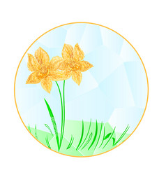 Button the circular easter daffodil polygons vector
