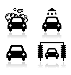 Car wash icons set - vector image
