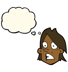 Cartoon frightened face with thought bubble vector