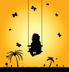 Child swing in nature silhouette vector