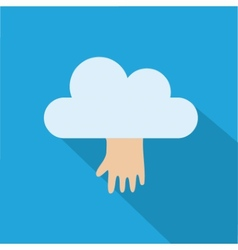 cloud icon with hand isolated on blue background vector image vector image