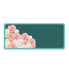 colorful rectangular frame with bud roses floral vector image vector image