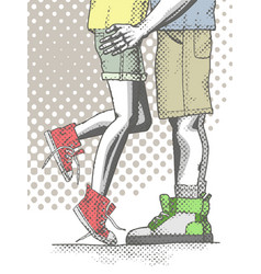 couple of teenagers hugging vector image