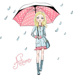 fashion girl in autumn clothes vector image