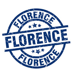 florence blue round grunge stamp vector image vector image
