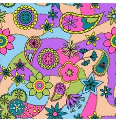 Flowers and paisley pattern colorful vector image vector image