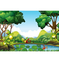 Frogs living by the pond vector image vector image