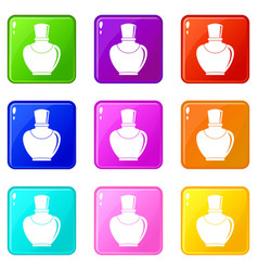 Glass bottle with perfume set 9 vector