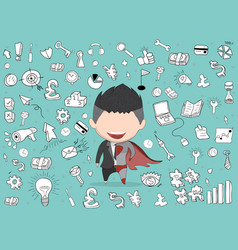 Happy face businessman on business doodles vector