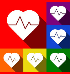 heartbeat sign set of icons vector image