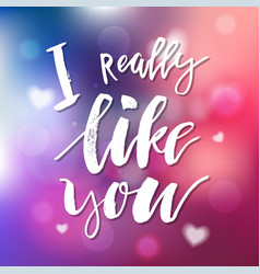 i really like you - calligraphy for invitation vector image vector image