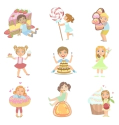Kids and giant sweets set vector