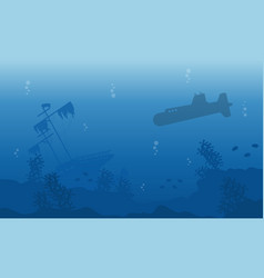 landscape of ship and submarine silhouettes vector image
