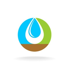 Letter O with liquid water drop logo Sky nature vector image