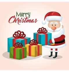 Merry christmas santa claus with many gift graphic vector