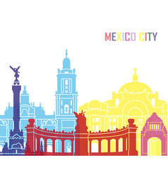 Mexico city skyline pop vector