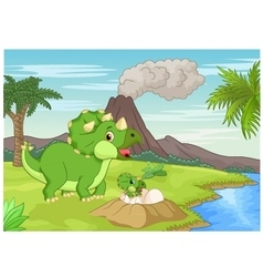 Mother triceratops with baby hatching vector